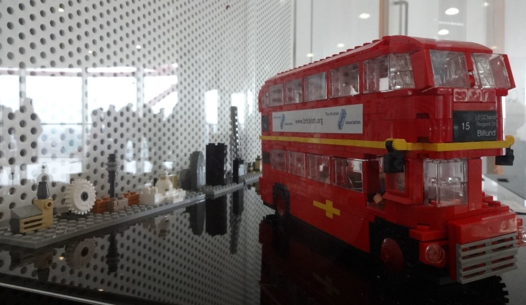 The Houses of Parliament, The London Eye, St Paul's Cathedral and the Shard amongst other iconic landmarks making up the LEGO London skyline. Clearly the Routemaster has been built to a different scale, or the skyline is far away