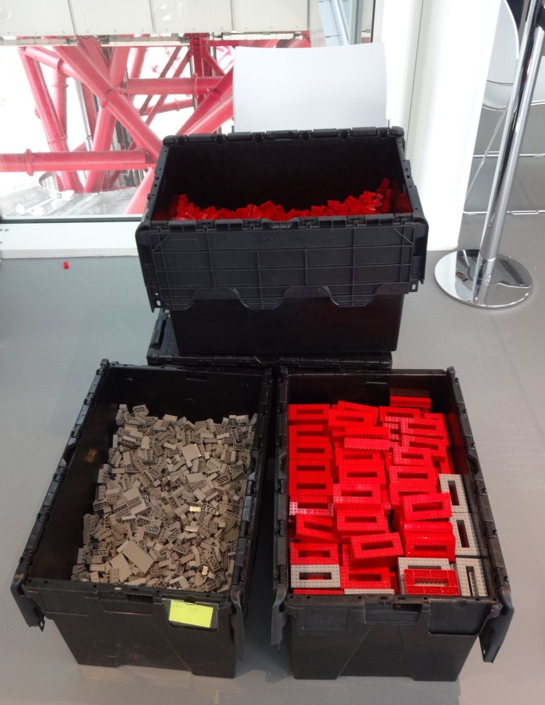 Some of the 100,000 LEGO bricks that will be used to build the two metre high Orbit model