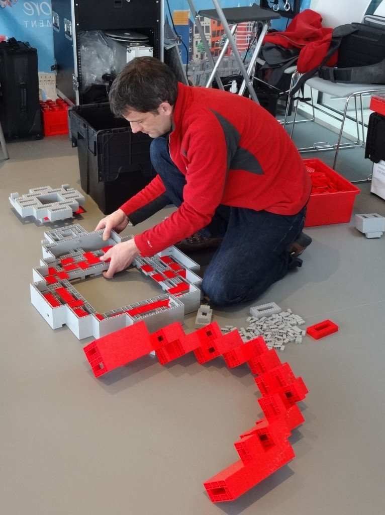 Setting the base for the two metre high model of The Orbit