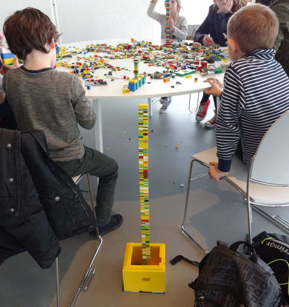 These two young builders were aiming to build a LEGO tower taller than themselves but were concerned that they wouldn't be able to reach the top of it to add further bricks once they had got close to their goal. I offered my services but it turned out I wasn't much more taller than they were