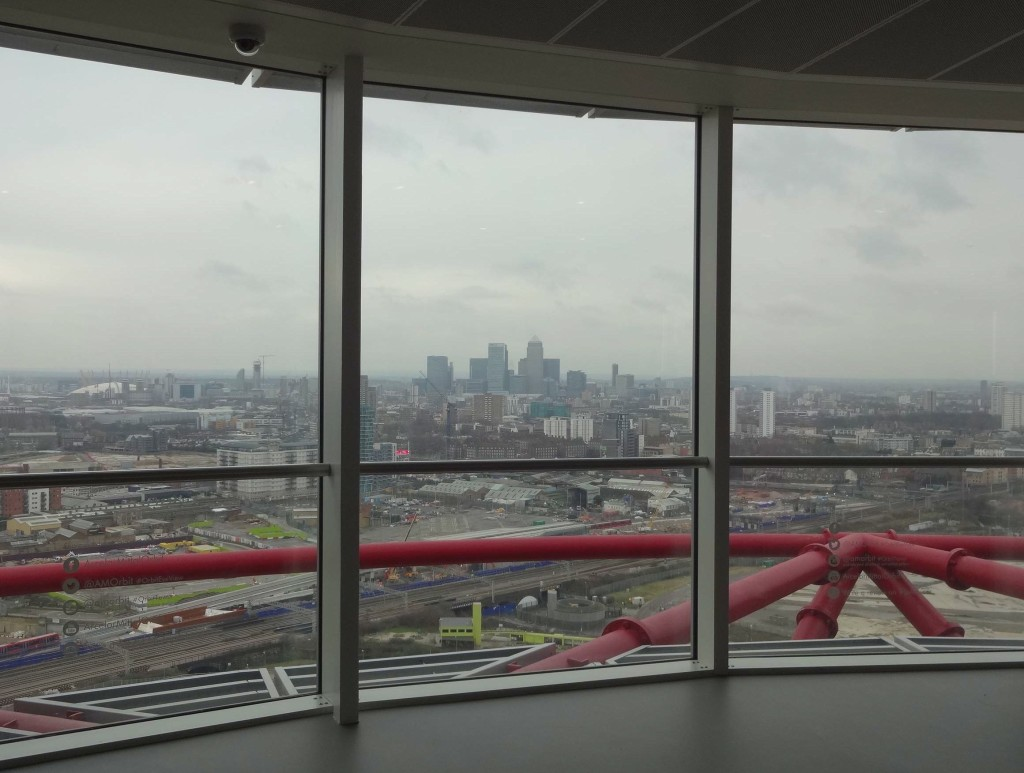 The view from the top of The Orbit, towards Canary Wharf