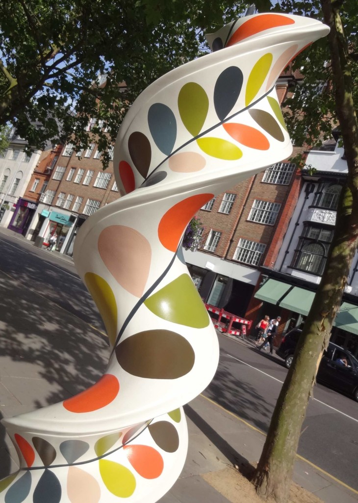 London Cancer Research UK's London Art DNA Trail 2015 What's in your DNA, Growing Stem, Orla Kiely, Dovehouse Green King's Road, with tree