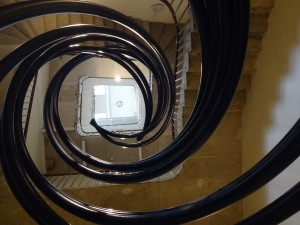 London Cancer Research UK's London Art DNA Trail 2015 What's in your DNA, Helix, Zaha Hadid, Stamp staircase basement South Wing Somerset House, middle looking up
