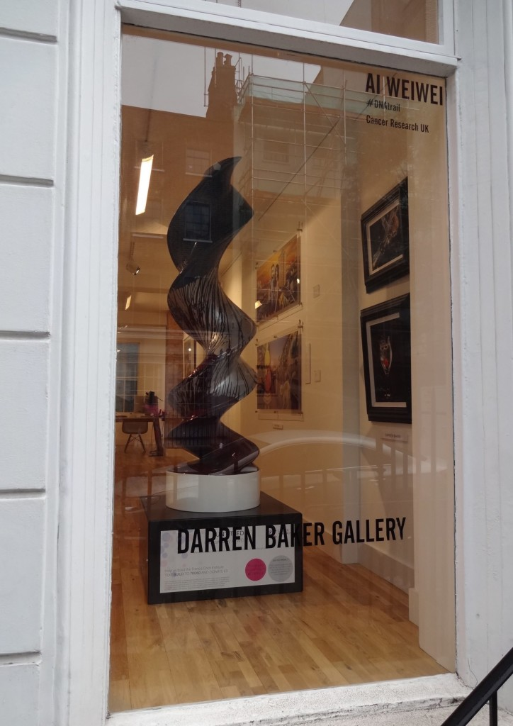 London Cancer Research UK's London Art DNA Trail 2015 What's in your DNA, Untitled 2 Ai Weiwei, Darren Baker Gallery window 81 Charlotte Street