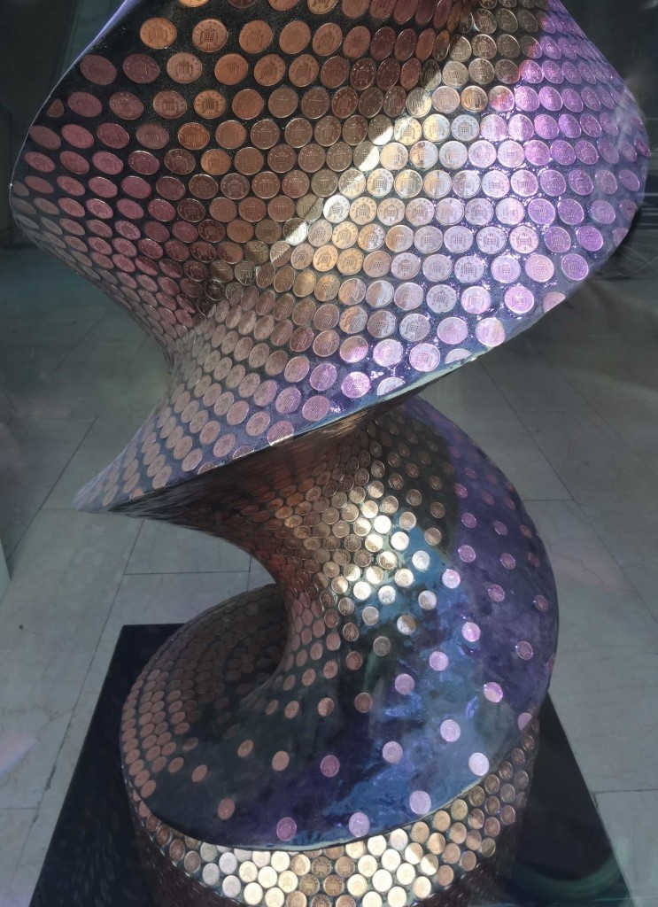 London Cancer Research UK's London Art Trail 2015 What's in your DNA, Enigma, Jane Morgan, Coutts The Strand, close up looking down
