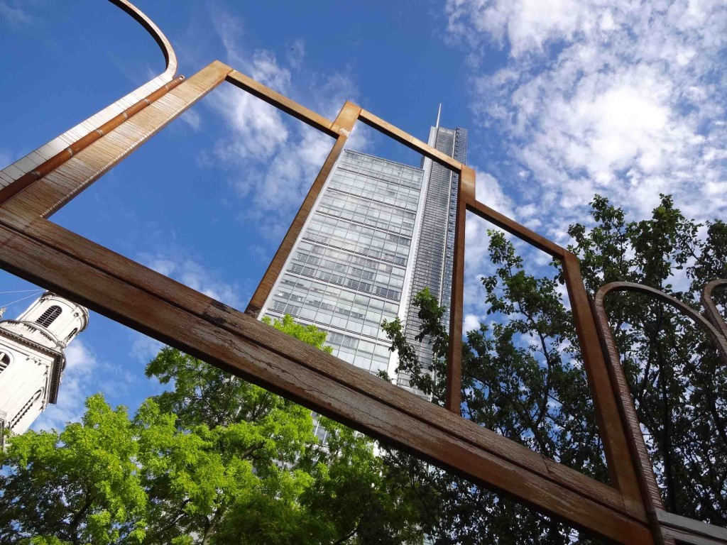 London Sculpture in the City 2015 Altar Kris Martin St Botolph-without-Bishopgate Gardens, framing spire building