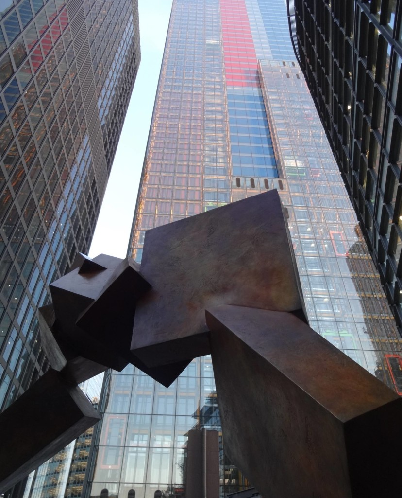 London Sculpture in the City 2015 Breakout II Bruce Beasley, Undershaft Hiscox, with the Cheesegrater in background