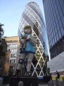London Sculpture in the City 2015 Charity Damien Hurst, Undershaft by the Gherkin, front
