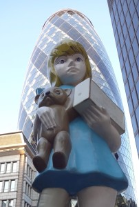 London Sculpture in the City 2015 Charity Damien Hurst, Undershaft by the Gherkin, front close up