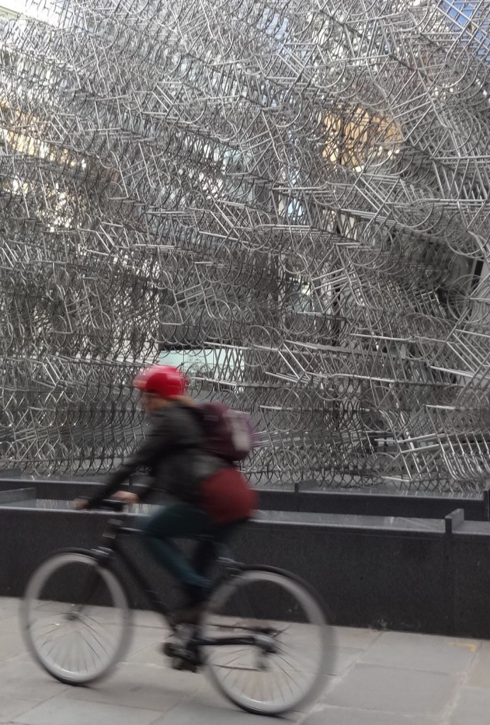 London Sculpture in the City 2015 Forever Ai Weiwei St Mary Axe Gherkin, front with female cyclist