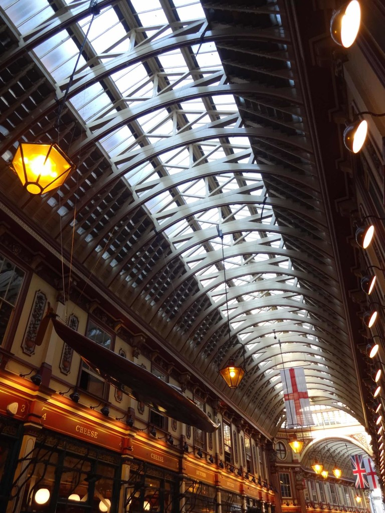 "As I was taking this photo next to one of the busy bars in Leadenhall Market, I heard one pint-swigging chap ask another ""Is that really a canoe up there or have I had enough tonight?"" (It's actually a kayak)"