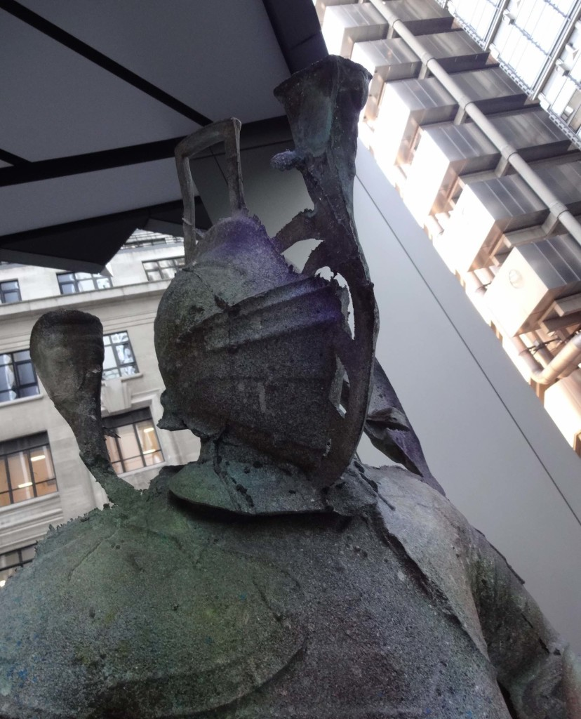 London Sculpture in the City 2015 Old DNA, Folkert de Jong, Fenchurch Avenue, head close up