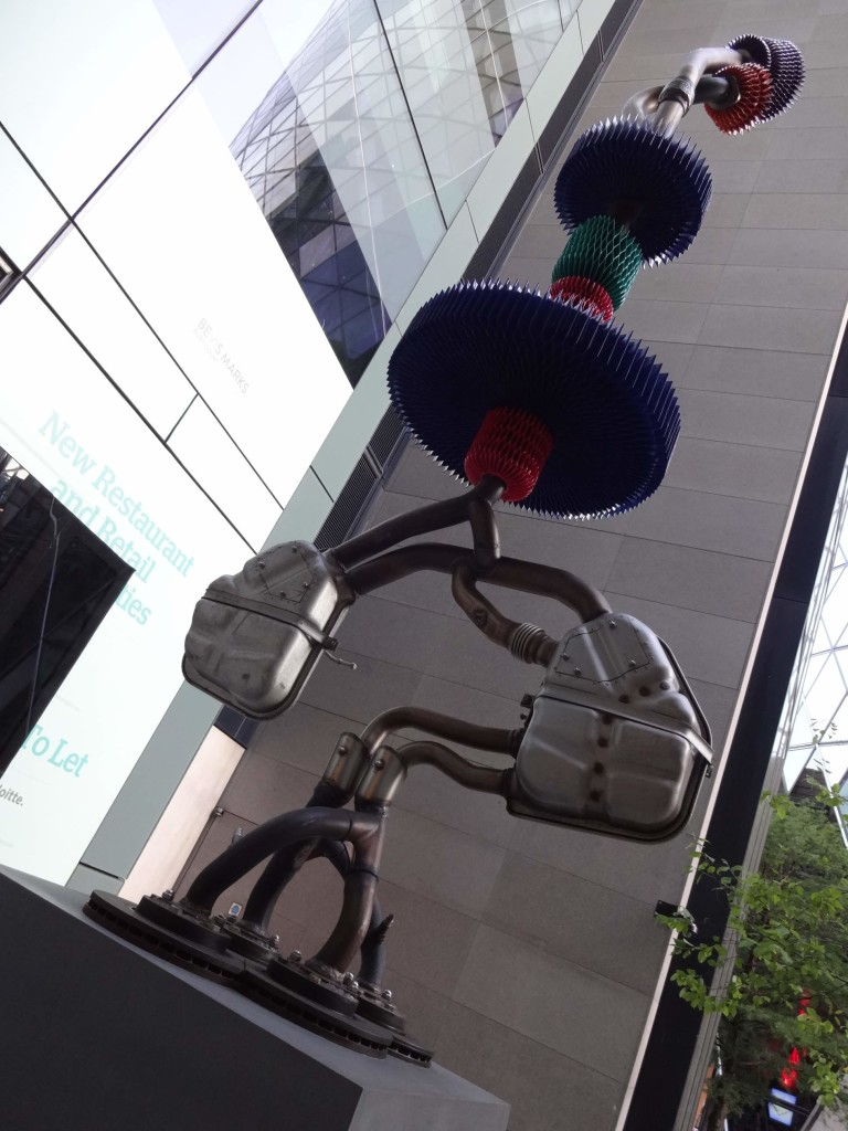 London Sculpture in the City 2015 Organisms of Control Keita Miyazaki, Bury Court, looking up