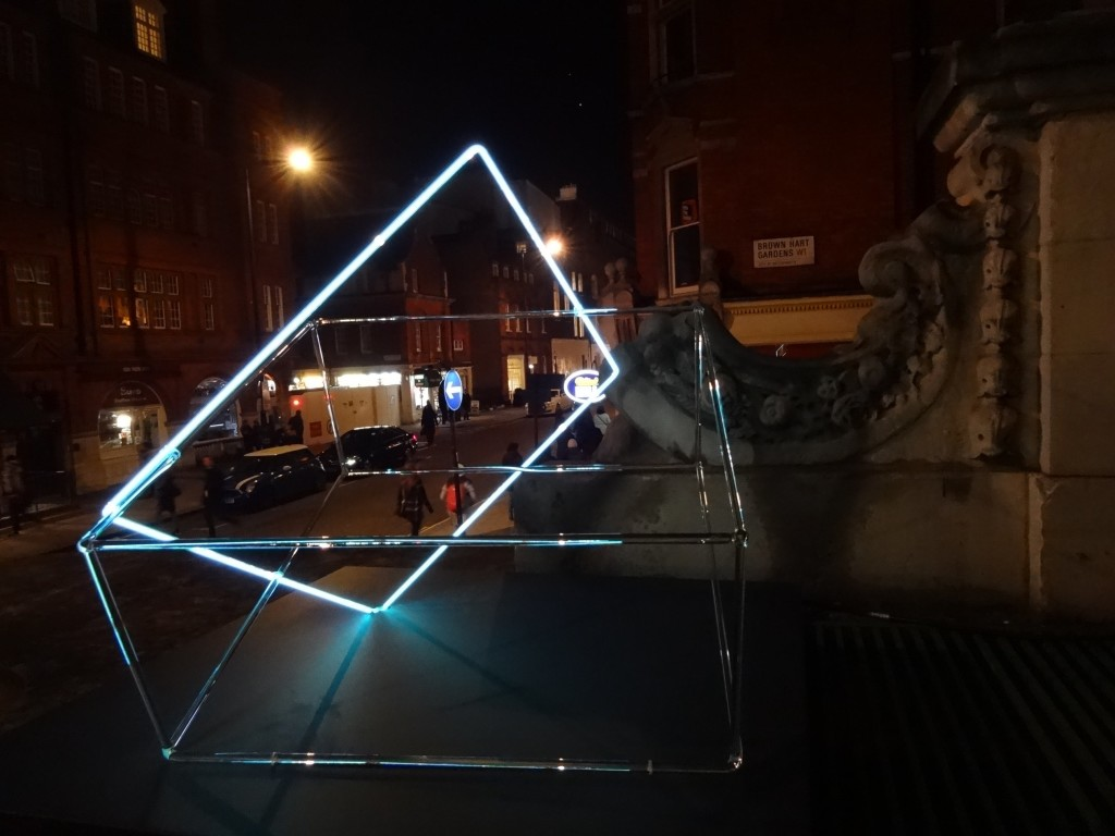 Lumiere London Light Festival Mayfair, Artichoke Project, Mayor of London, Dissect I and Dissect II, east side of gardens, Brown Hart Gardens