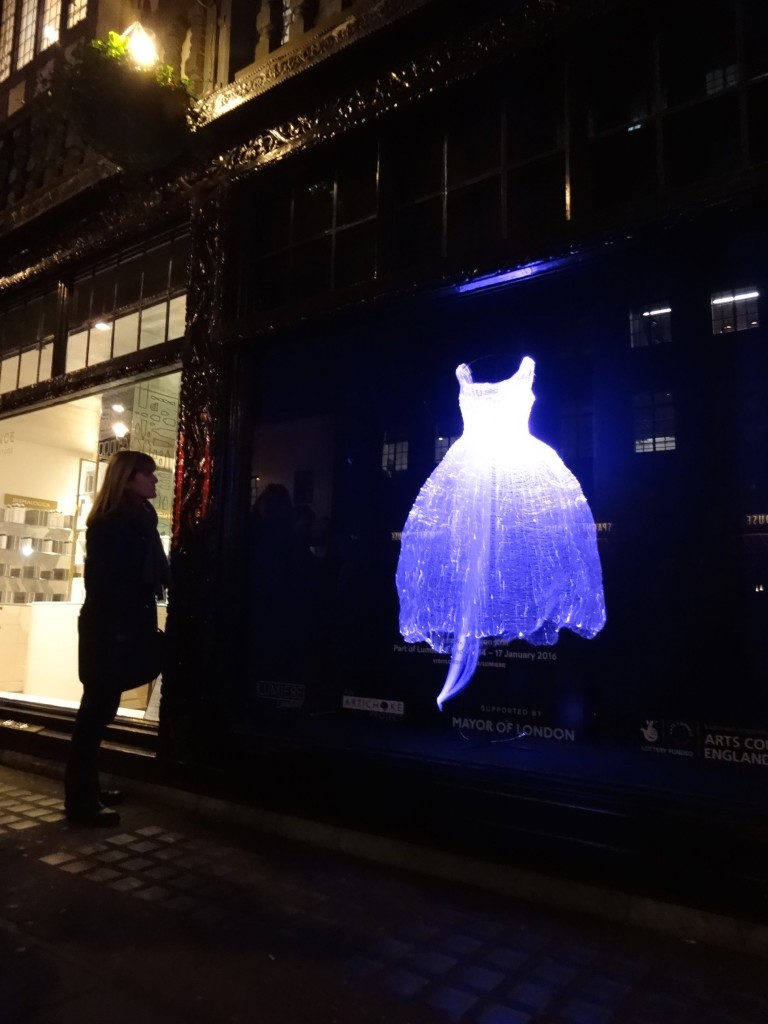 Lumiere London Light Festival Piccadilly Regent Street & St James's, Artichoke Project, Mayor of London, Dresses 24b, Tae gon KIM, Liberty's window, white with woman staring at it