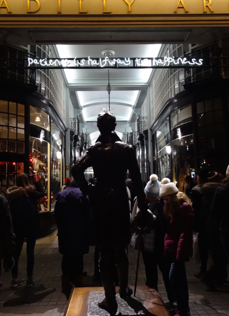 Clearly Beau Brummell isn't very elegant tonight attracting as much attention as Beth J Ross's installation