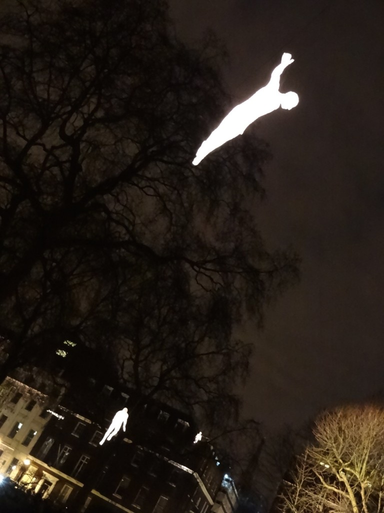 There were figures in the trees, on the rooftops, and magically floating above the square (with the use of wire)