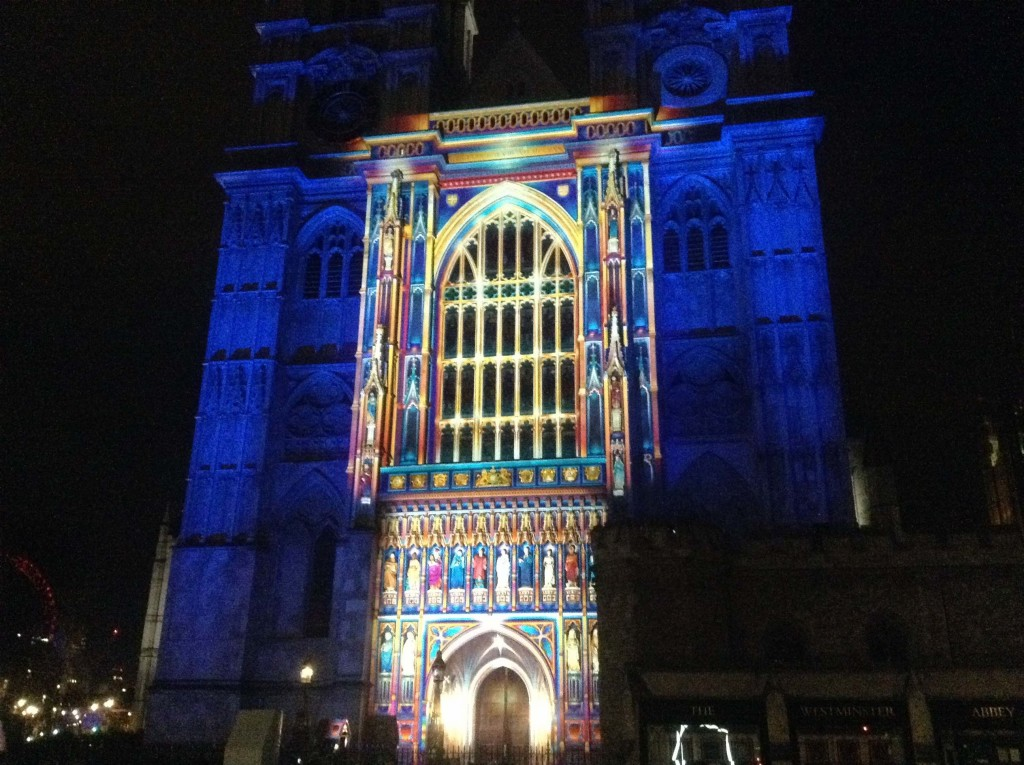 Lumiere London Light Festival Trafalgar Square Westminster, Artichoke Project, Mayor of London, The Light of the Spirit, Patrice Warrener, Westminster Abbey, window close up