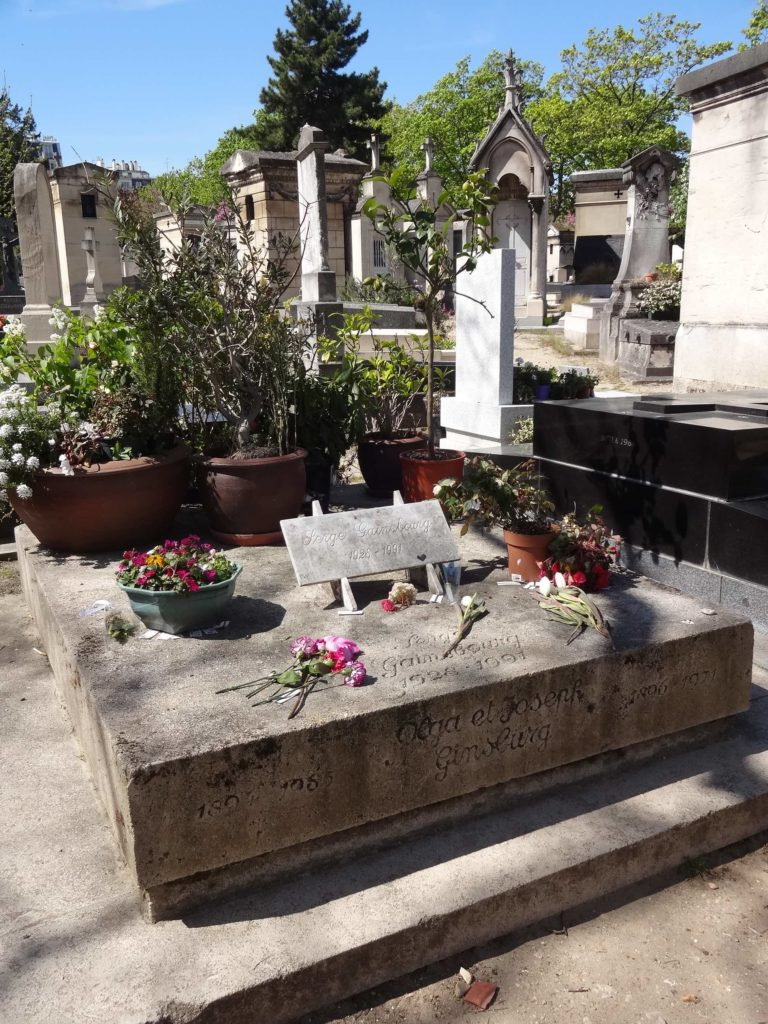 The Gainsbourg family plot in Montparnasse Cemetery where famous French singer Serge 'Ooo Je t'aime' Gainsbourg is laid to rest