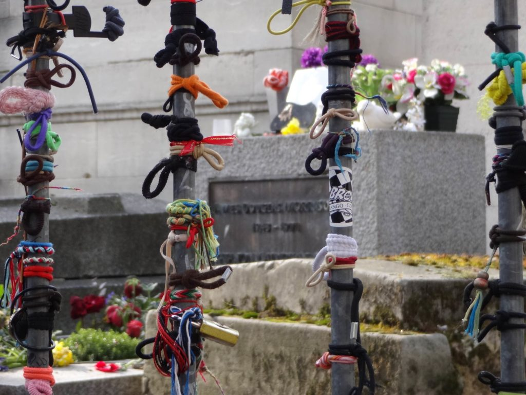Less ardent but no less prolific gestures of love are now left by Jim Morrison's grave, mainly in the form of hair ties and ribbons on the barricade bars