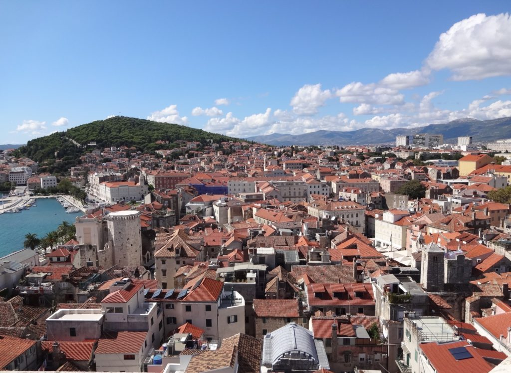 The lungs of Split: the very green and luscious Marjan Hill as seen from the top of the Old City belfry