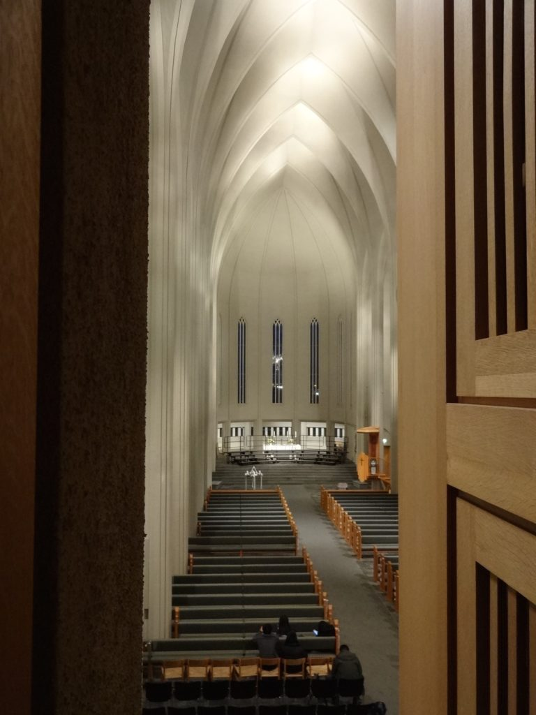 When visiting one's organ pipe, a patron can also enjoy this view of the church from the organist's chair