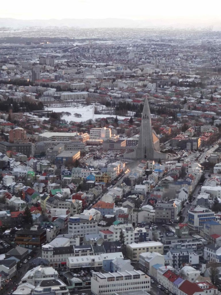 Reykjavik as seen from the air with its imposing Hallgrímskirkja at its centre
