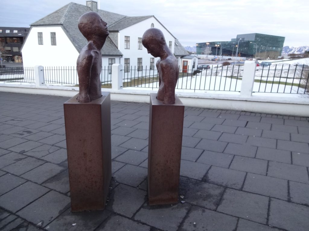 What on earth is the figure on the right of Steinunn-Þórarinsdóttir's sculpture looking at?