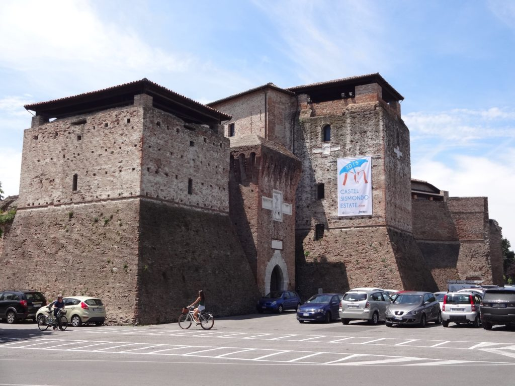 What remains of Malatesta's mighty castle, the Castel Sismondo, with ample parking space for his guests