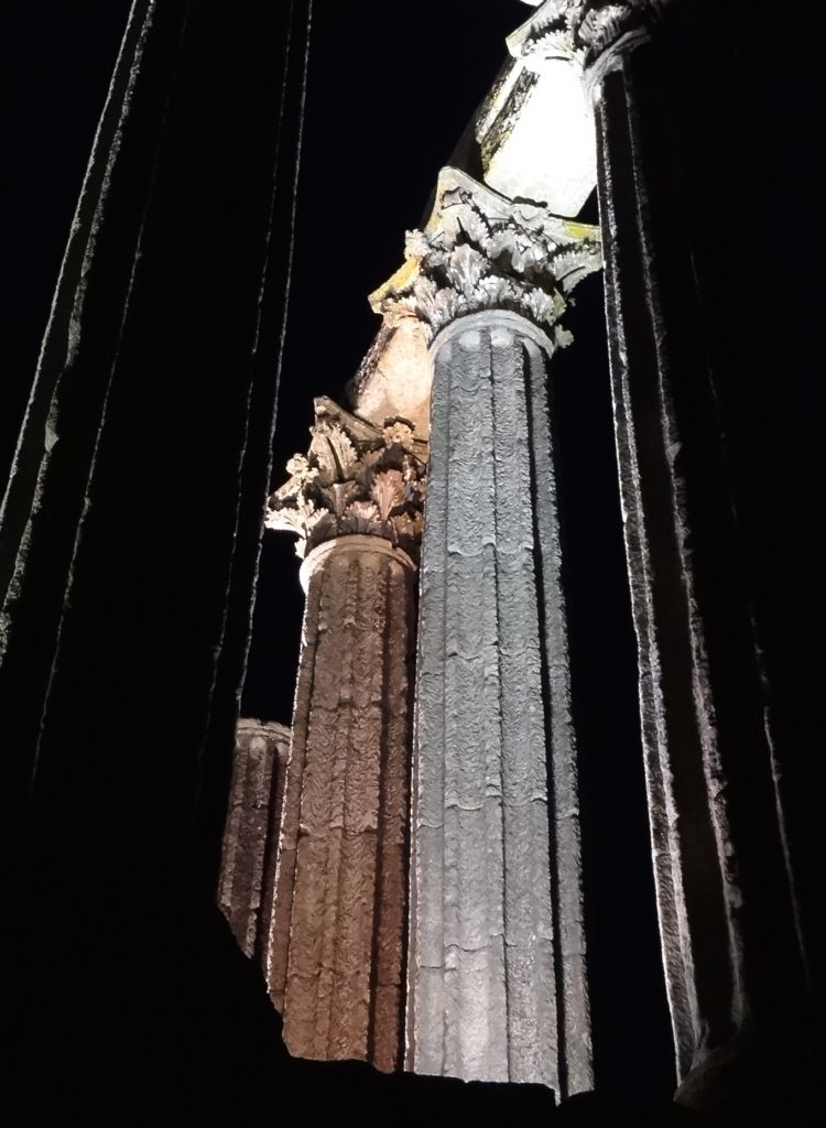 Roman Temple of Evora aka Temple of Diana, column detail in different light, night