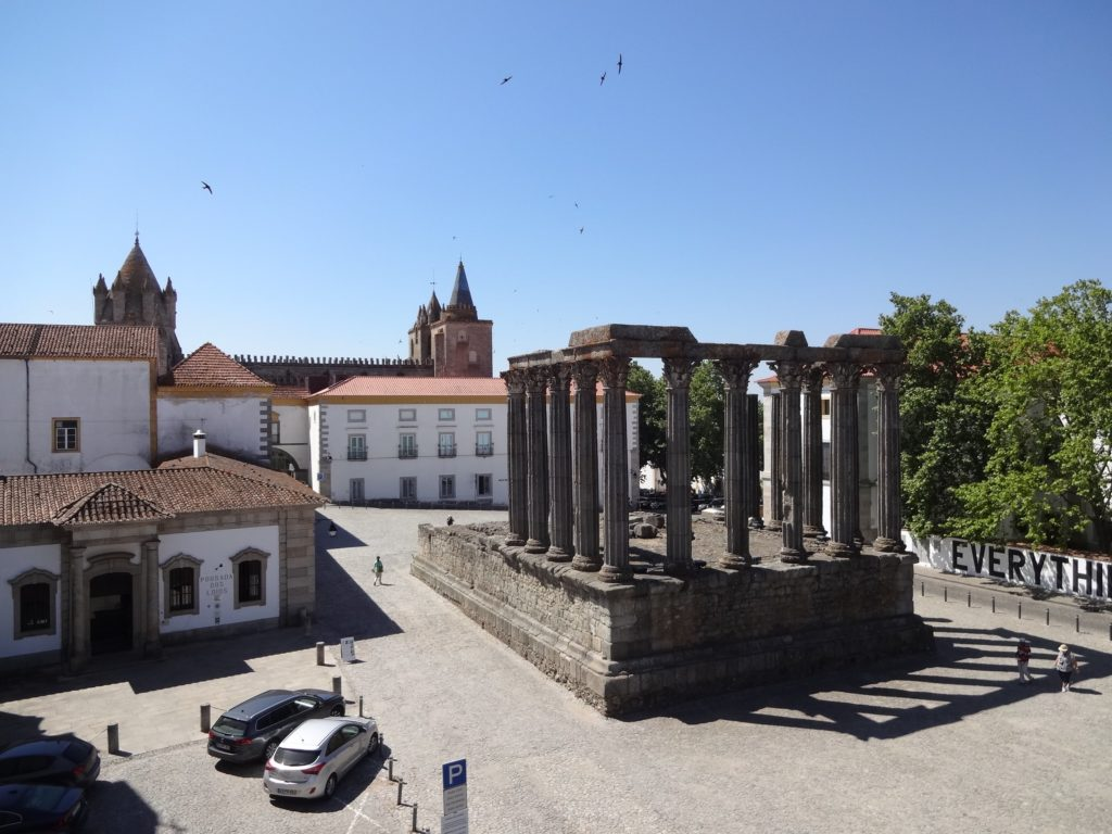 Évora's Roman Temple. The parking restrictions apply to all vehicles, including chariots