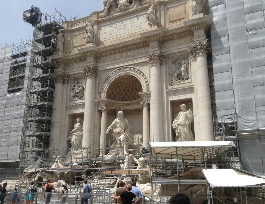 Rome Trevi Fountain closed for maintenance walkway right