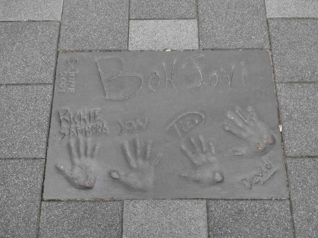 The band members of Bon Jovi (for some reason I had expected Jon's hand to be bigger)