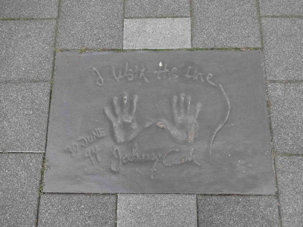 The legendary Johnny Cash. Thankfully he didn't walk the newly relocated Star Boulevard otherwise he might not have participated in the handprinting ceremony knowing where his handprints would end up
