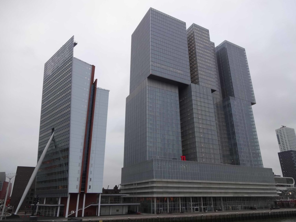 The top-heavy KPN Telecom Headquarters (left) propped up by a pole, designed by renowned architect Renzo Piano, and De Rotterdam (right) the largest building in the city to date, designed by Rem Koolhaas