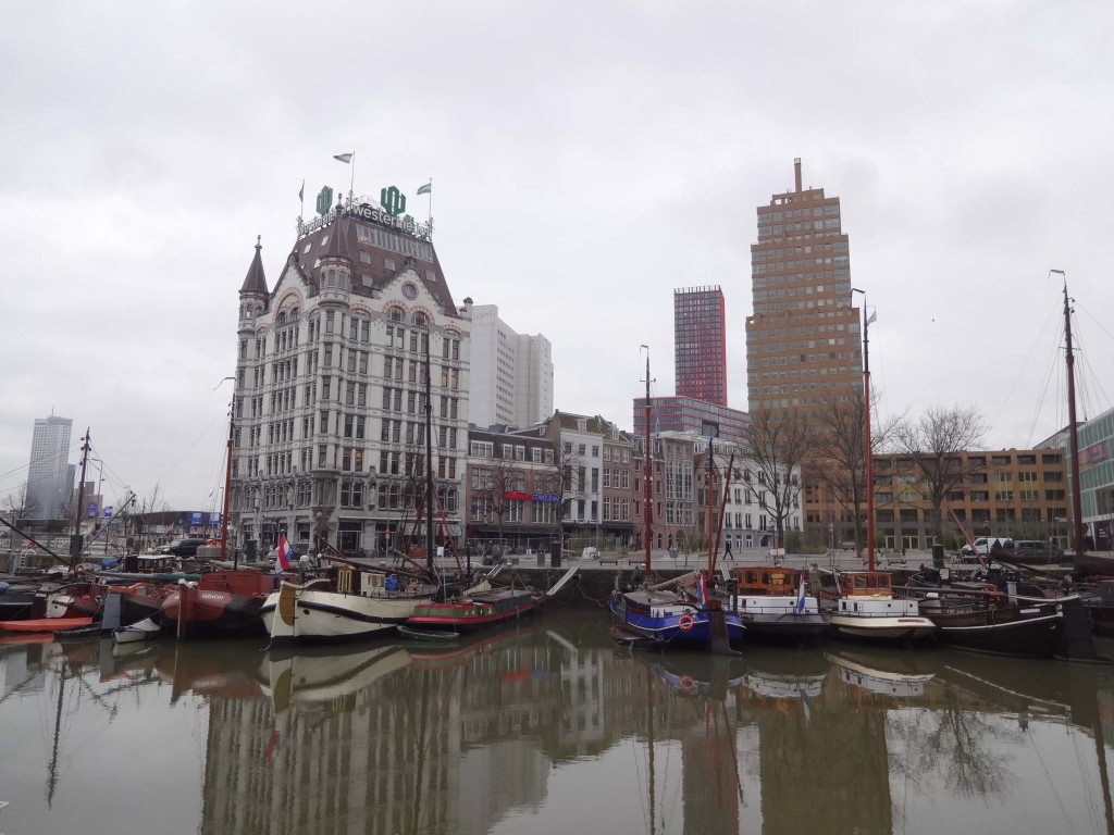 The elegant Art Nouveau Witte Huis (left) in Oude Haven. Built in 1898, the 'White House' is a rare Rotterdam survivor of the Second World War and is now a National Heritage site