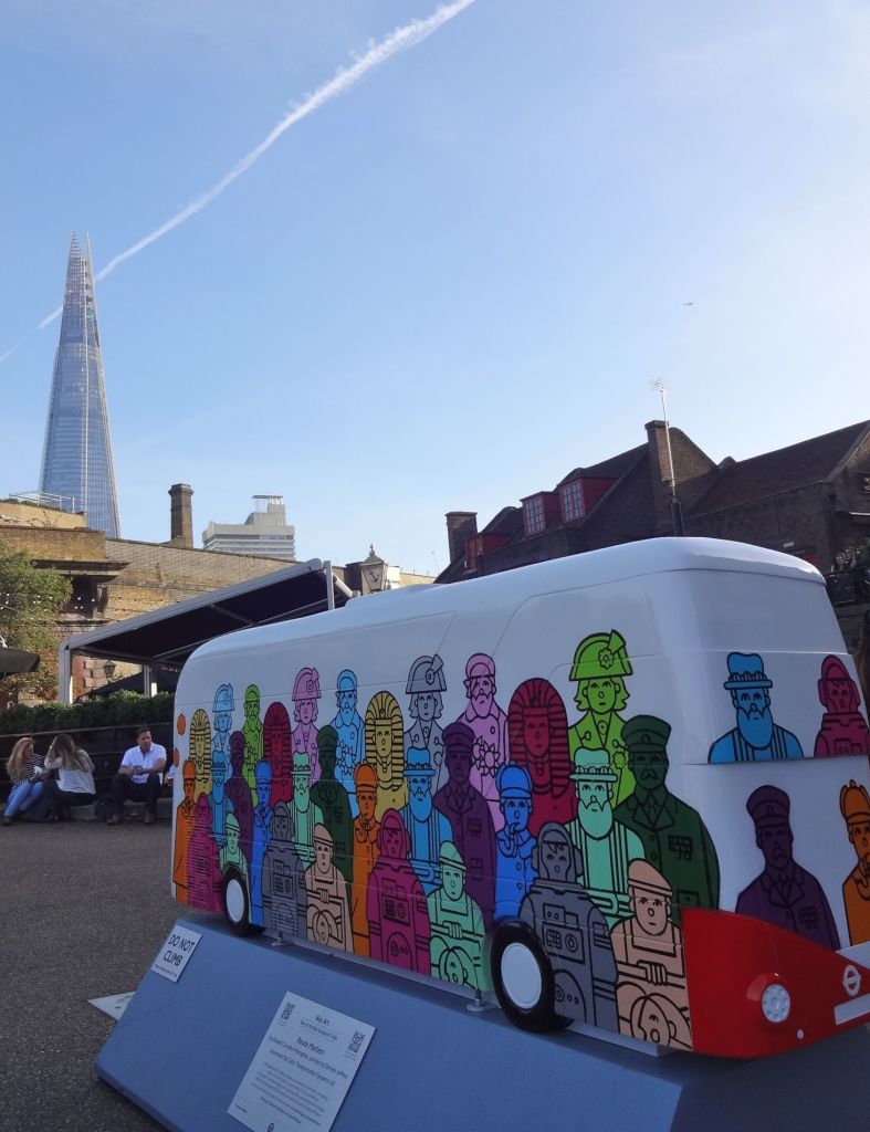 Routemaster 60 Year of the Bus sculpture Around the River trail TfL Wild in Art Edward Carvalho-Monaghan & Damien Jeffery Route Masters and the Shard