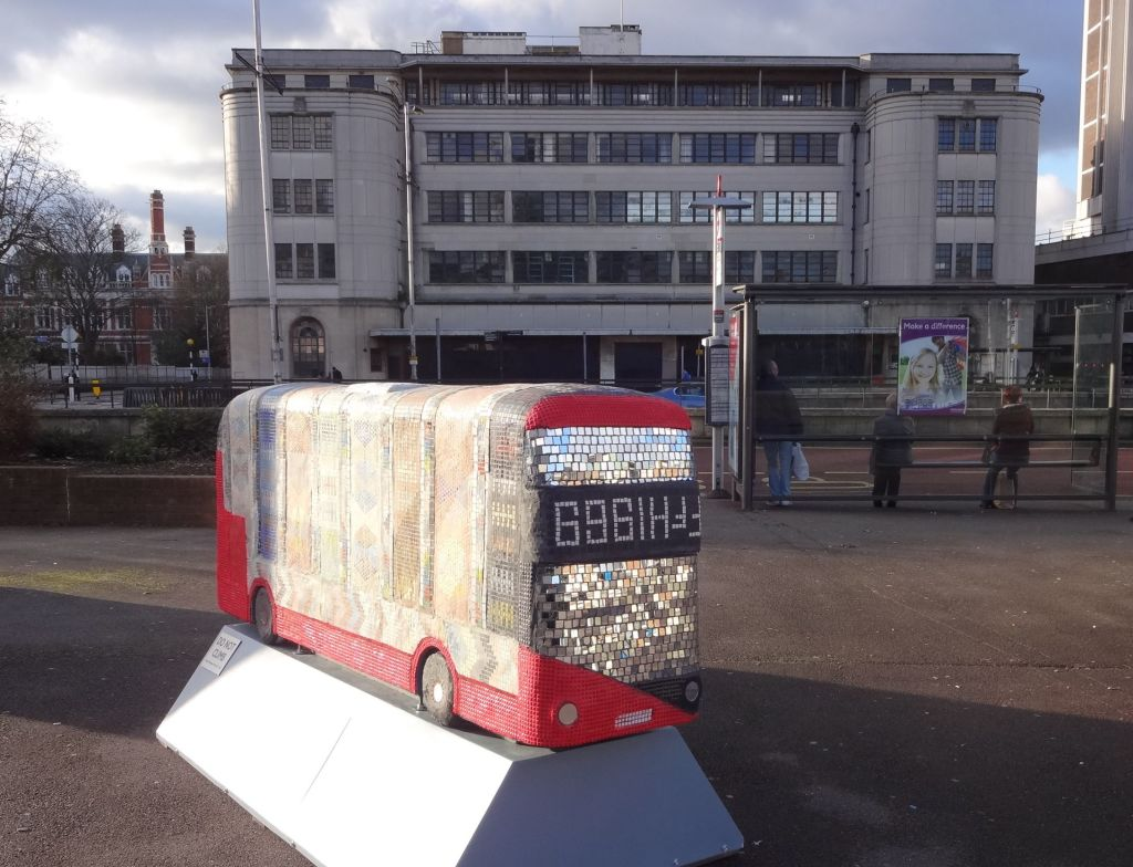 """As it was two weeks before Christmas and the Fairfield Halls behind me had just started a panto run of Snow White & The Seven Dwarfs, I just couldn't resist and called out to those waiting at the bus stop: """"The year of the bus sculpture. It's behind you!"""". Clearly they were not in the festive spirit."""