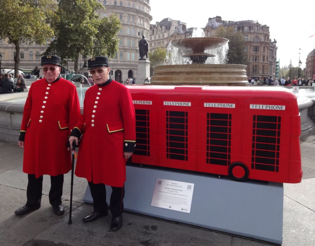 Two fine gentlemen waiting for a bus (sculpture) at the Trafalgar Square launch