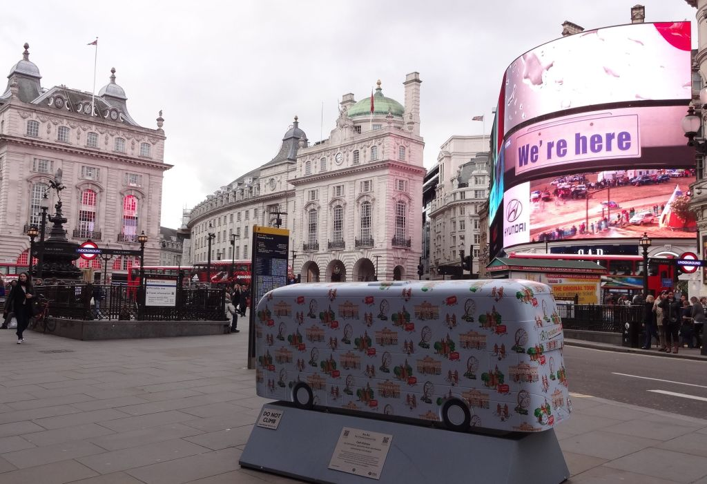 Yes, the 'Year of the Bus' sculptures are certainly here Piccadilly