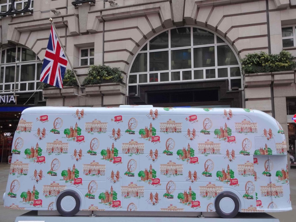 Routemaster 60 Year of the Bus sculpture Westminster trail TfL Wild in Art Cath Kidston and Sarah Jane Richards Cath Kidston Bus Piccadilly Circus left side with Union flag