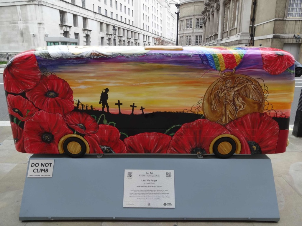 Routemaster 60 Year of the Bus sculpture Westminster trail TfL Wild in Art Lee O'Brien Lest We Forget side landscape Horse Guards Avenue