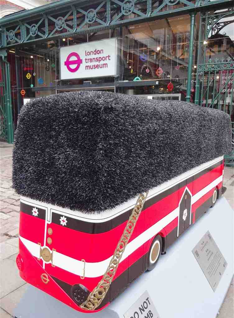 Routemaster 60 Year of the Bus sculpture Westminster trail TfL Wild in Art Oliver Dean Busby Covent Garden left side and back with London Transport Museum