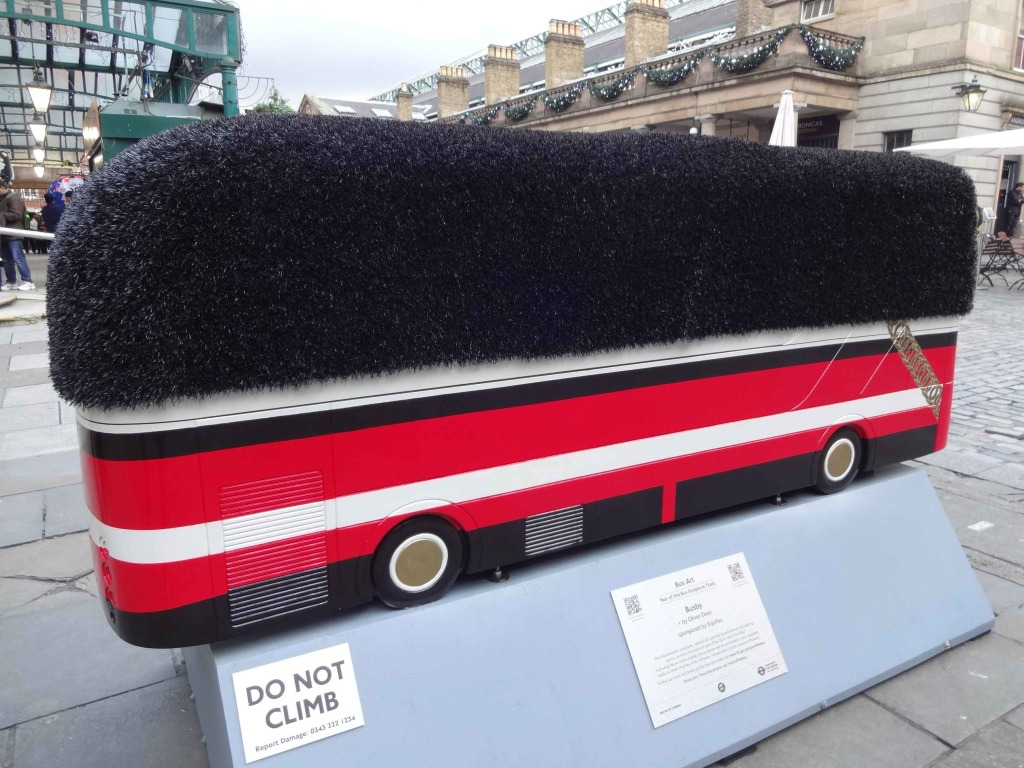 Routemaster 60 Year of the Bus sculpture Westminster trail TfL Wild in Art Oliver Dean Busby Covent Garden right side and back