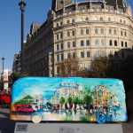 Routemaster 60 Year of the Bus sculpture Westminster trail TfL Wild in Art Rob Wilson Trafalgar Panoramic looking towards Charing Cross Road