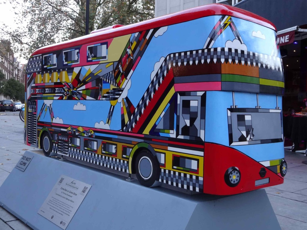 Routemaster 60 Year of the Bus sculpture Westminster trail TfL Wild in Art Thomas Dowdeswell Come Rain or Come Shine Edgware Road front and right side