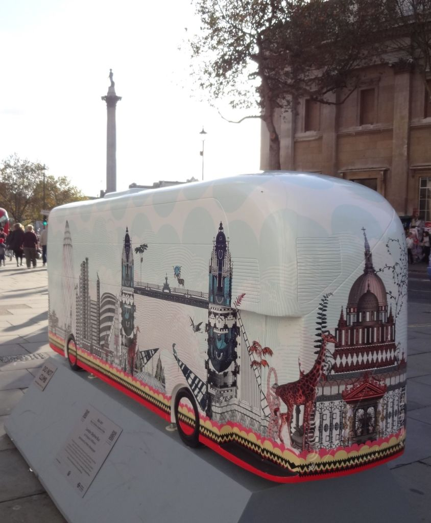 Routemaster 60 Year of the Bus sculpture Westminster trail Tfl Wild in Art Kristjana S Williams London Skyline Bus Charing Cross Road back and side with Nelson's Column