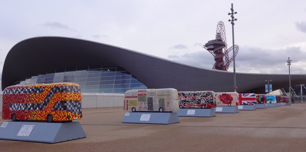 Routemaster 60 Year of the Bus sculpture the final gathering at the Queen Elizabeth Olympic Park TfL Wild in Art in from of the Aquatic centre and Orbit