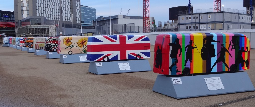 Routemaster 60 Year of the Bus sculpture the final gathering at the Queen Elizabeth Olympic Park TfL Wild in Art with The Paralympic Bus by Tom Yendell