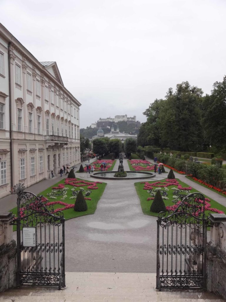Stunning views towards Festung Hohensalzburg from the top of those famous Mirabellgarten steps